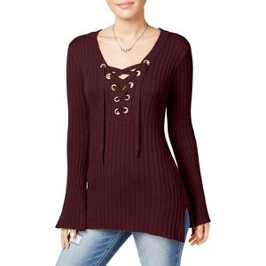 Women's Juniors Lace-up Tunic Pullover Sweater